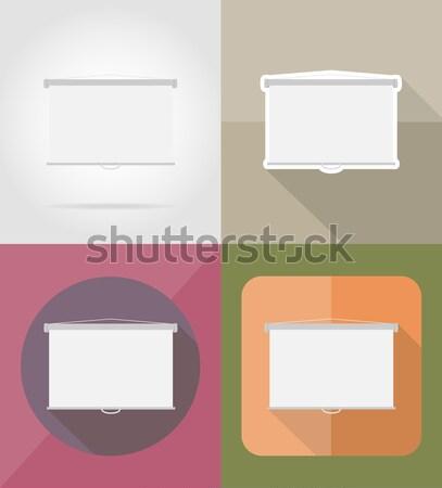 Projeksiyon ekran simgeler yalıtılmış iş toplantı Stok fotoğraf © konturvid