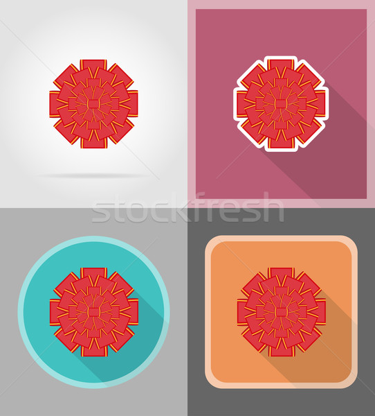 Stock photo: red bow for gift flat icons vector illustration
