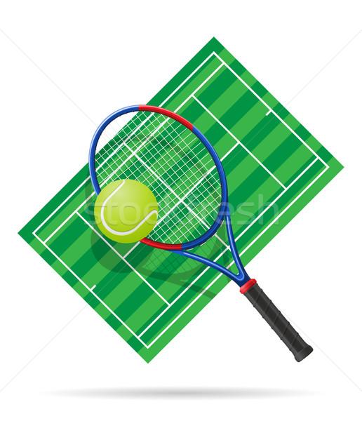 Teniszpálya izolált fehér fitnessz tenisz labda Stock fotó © konturvid
