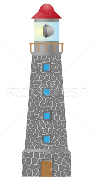 old lighthouse built in stonel vector illustration Stock photo © konturvid