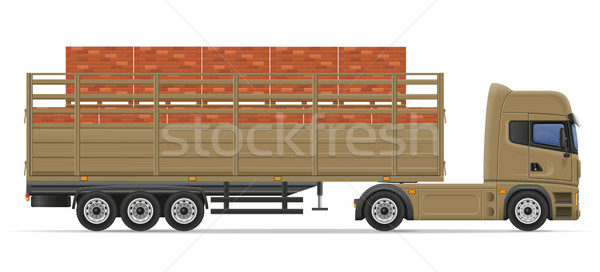 truck semi trailer delivery and transportation of construction m Stock photo © konturvid