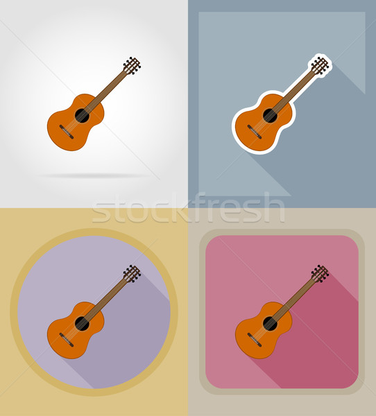 acoustic guitar flat icons vector illustration Stock photo © konturvid