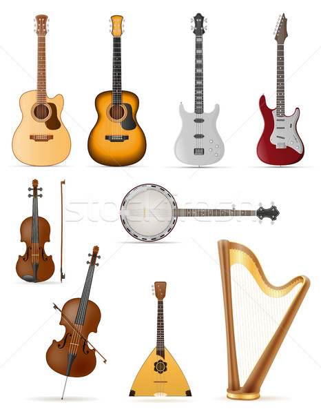 Instruments de musique stock isolé blanche ordinateur guitare Photo stock © konturvid