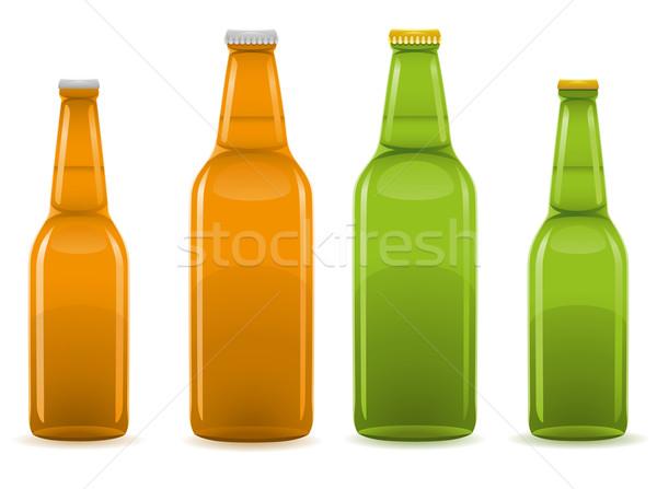 Bierfles geïsoleerd witte oranje groene drinken Stockfoto © konturvid