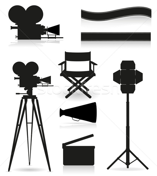 set icons silhouette cinematography cinema and movie vector illu Stock photo © konturvid