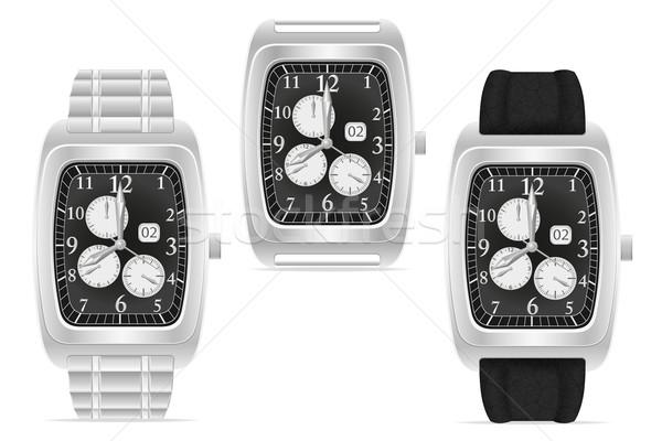 silver mechanical wristwatch vector illustration Stock photo © konturvid