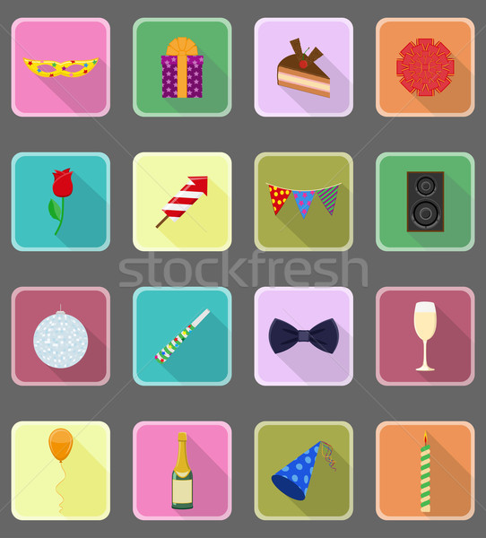 Stock photo: celebrations set flat icons vector illustration