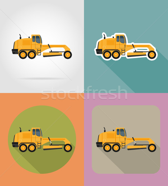 grader for road works flat icons vector illustration Stock photo © konturvid