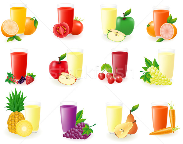 set of icons with fruit juice vector illustration Stock photo © konturvid