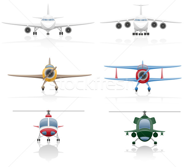 set icons airplane and helicopter vector illustration Stock photo © konturvid