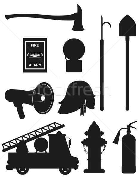 set icons of firefighting equipment black silhouette vector illu Stock photo © konturvid