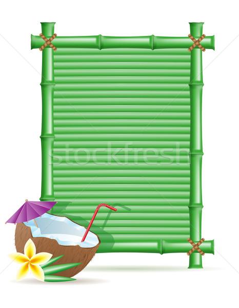 Foto stock: Bambu · quadro · coco · isolado · branco · flor