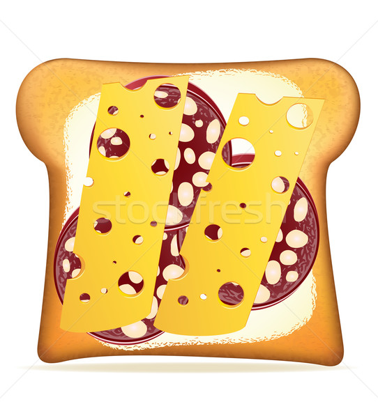buttered toast sausage and cheese vector illustration Stock photo © konturvid