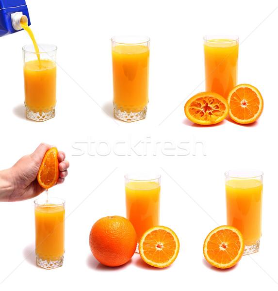 Stock fotó: Narancslé · üveg · izolált · fehér · gyümölcs · nyár
