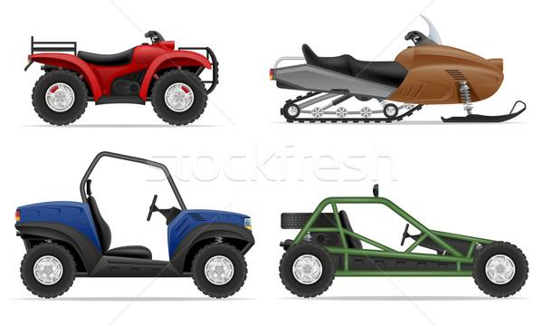 set icons atv automobile off roads vector illustration Stock photo © konturvid