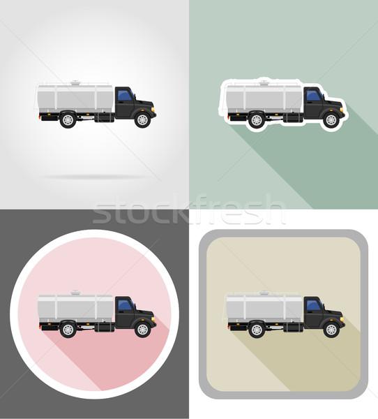 truck with tank for transporting liquids flat icons vector illus Stock photo © konturvid