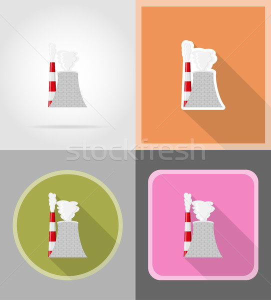 nuclear reactor flat icons vector illustration Stock photo © konturvid
