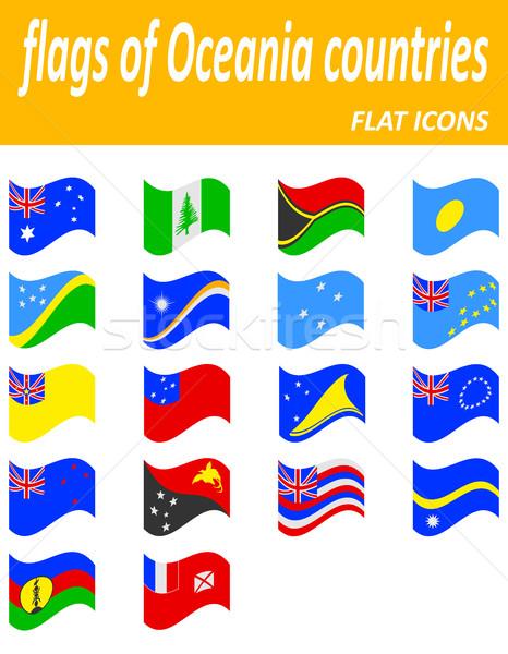 флагами Океания иконки изолированный белый Сток-фото © konturvid