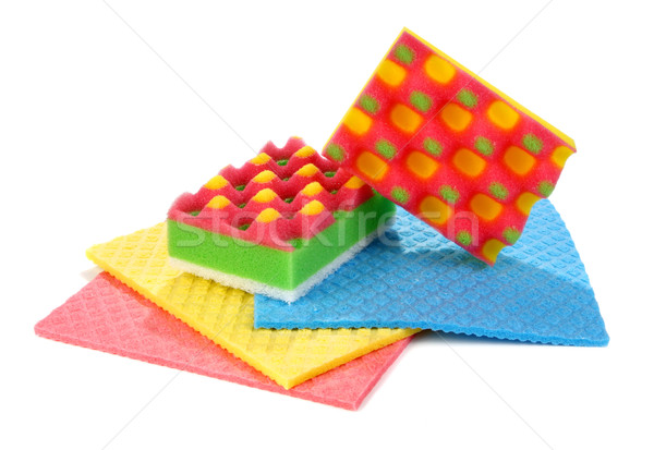 sponges for washing and taking away on a kitchen Stock photo © konturvid