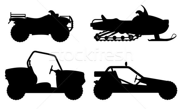 set icons atv automobile off roads black outline silhouette vect Stock photo © konturvid