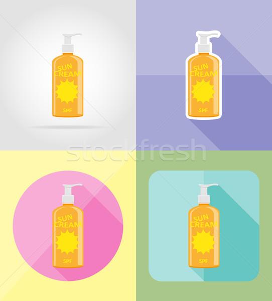 sun cream flat icons vector illustration Stock photo © konturvid