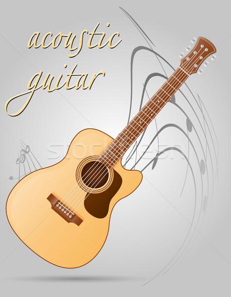 Guitarra acústica instrumentos musicales stock aislado gris música Foto stock © konturvid