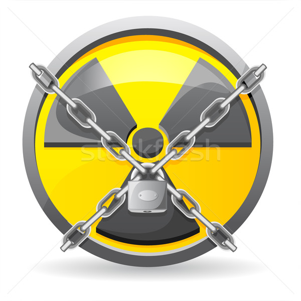 lock with chains on a sign radiation vector illustration Stock photo © konturvid