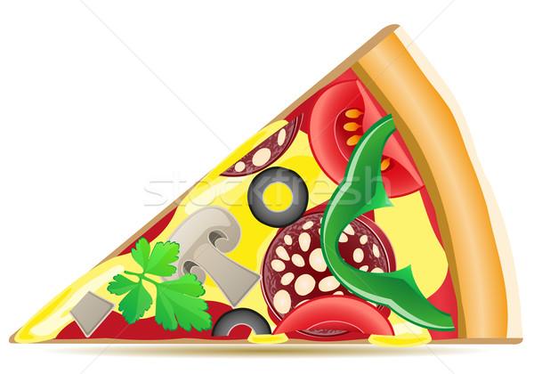 Pizza isoliert weiß Fleisch Gemüse Pfeffer Stock foto © konturvid
