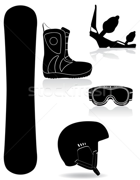 set icons equipment for snowboarding black silhouette vector ill Stock photo © konturvid