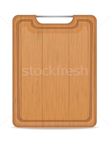 Holz Schneidebrett Metall Griff isoliert weiß Stock foto © konturvid