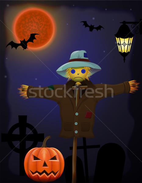 halloween pumpkin and scarecrow in the night sky Stock photo © konturvid