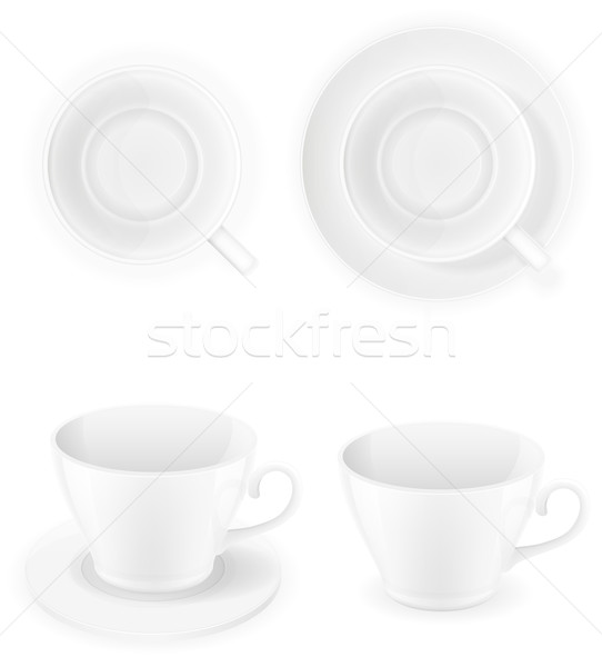 porcelain cup top view and a side vector illustration isolated o Stock photo © konturvid