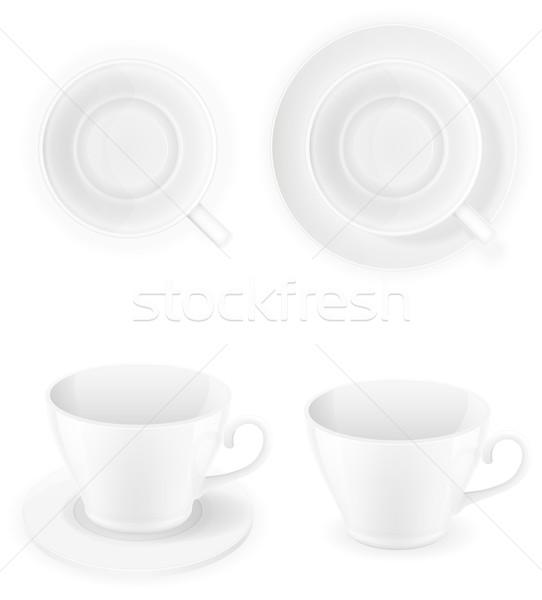 Porselein beker top kant geïsoleerd Stockfoto © konturvid