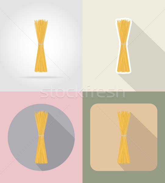 Pasta spaghetti alimentare oggetti icone isolato Foto d'archivio © konturvid