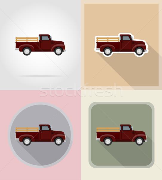 old retro car pickup flat icons vector illustration isolated Stock photo © konturvid