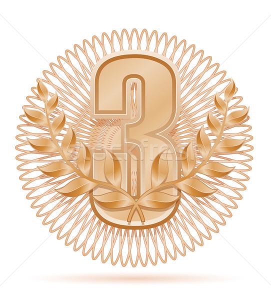 Koszorú nyertes sport bronz stock izolált Stock fotó © konturvid