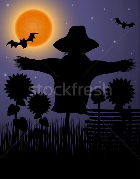 scarecrow black silhouette in the night sky and the moon Stock photo © konturvid