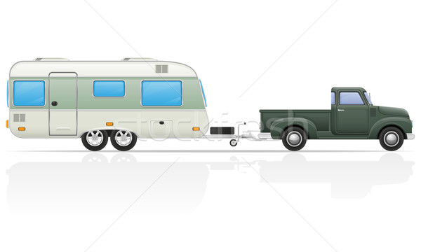 old retro car pickup with trailer vector illustration Stock photo © konturvid