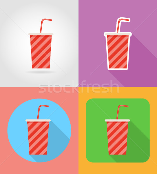 soda in a paper cup fast food flat icons with the shadow vector  Stock photo © konturvid