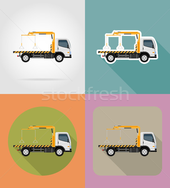 tow truck for transportation faults and emergency cars flat icon Stock photo © konturvid