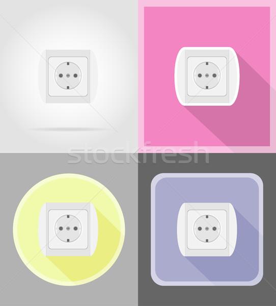 electrical socket flat icons vector illustration Stock photo © konturvid