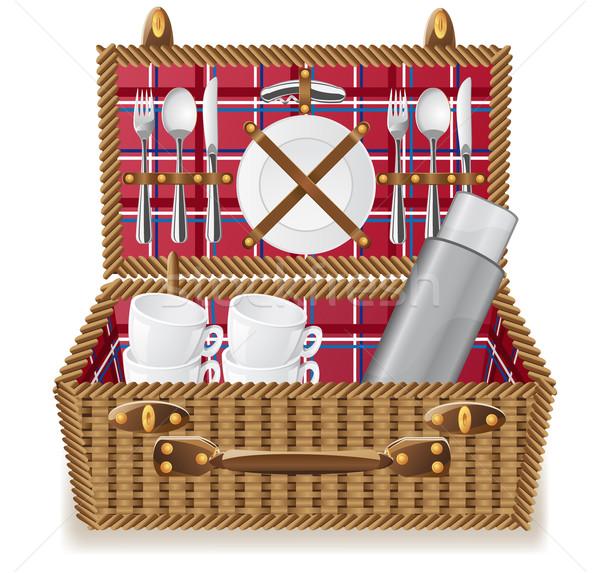 Mand picknick tafelgerei achtergrond zomer plaat Stockfoto © konturvid
