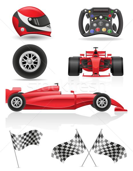 set racing icons vector illustration EPS 10 Stock photo © konturvid