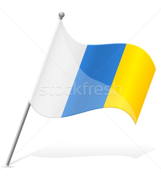 Foto stock: Bandeira · canárias · isolado · branco · globo · mundo