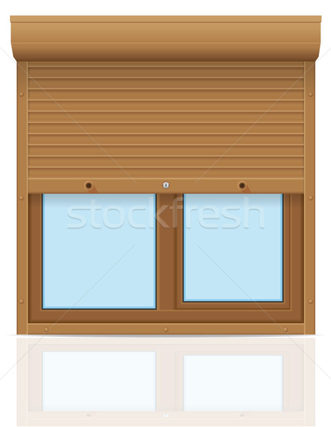 brown plastic window with rolling shutters vector illustration Stock photo © konturvid