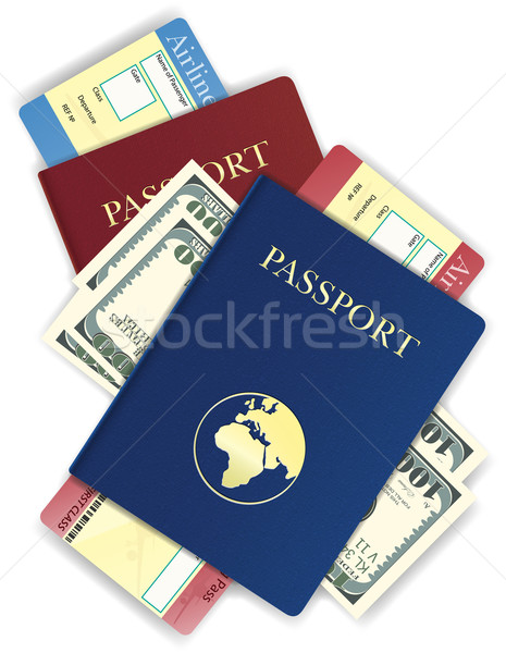 passport with money and airline ticket vector illustration Stock photo © konturvid