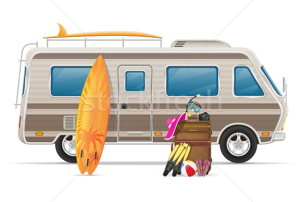 Carro tem caravana móvel casa Foto stock © konturvid