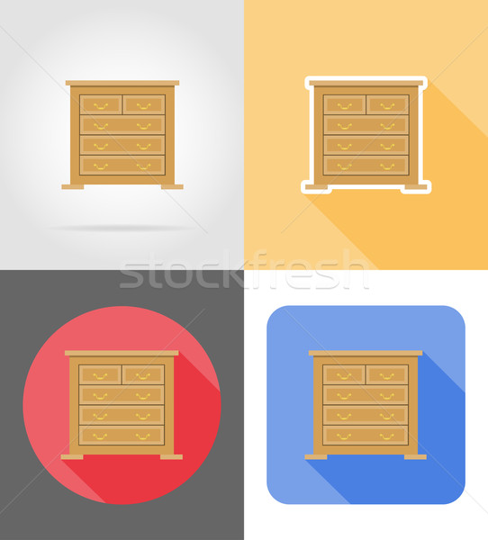 commode furniture set flat icons vector illustration Stock photo © konturvid