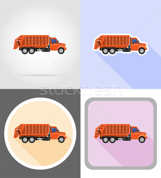 truck remove garbage flat icons vector illustration Stock photo © konturvid