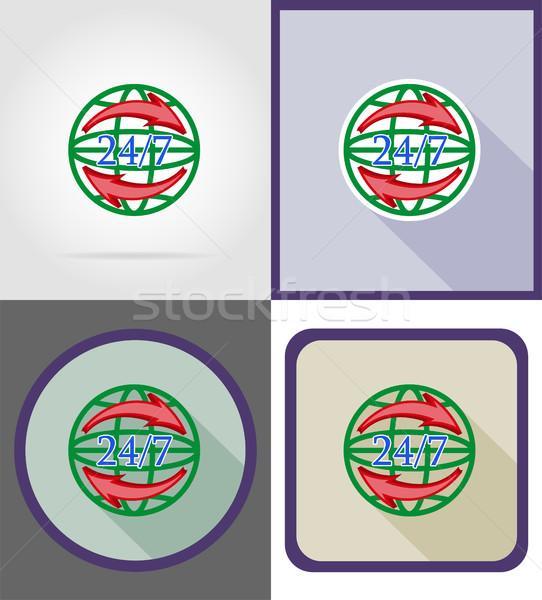 Simbolo consegna in tutto il mondo clock icone vettore Foto d'archivio © konturvid